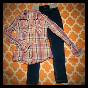 Justice plaid Button Up & slim jeggings outfit 8